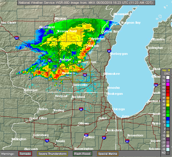 Radar Image for Severe Thunderstorms near Stoughton, WI at 6/30/2019 11:32 AM CDT