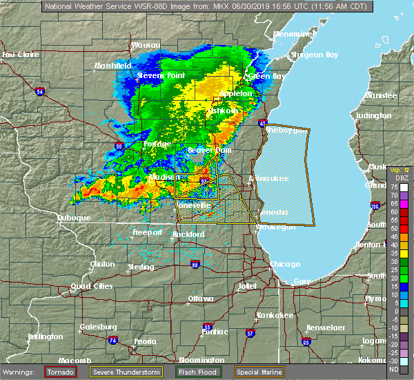 Radar Image for Severe Thunderstorms near Jefferson, WI at 6/30/2019 12:04 PM CDT