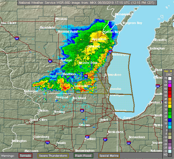 Radar Image for Severe Thunderstorms near Lake Geneva, WI at 6/30/2019 12:22 PM CDT