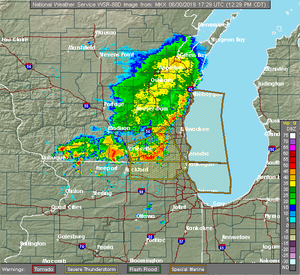 Radar Image for Severe Thunderstorms near Lake Geneva, WI at 6/30/2019 12:34 PM CDT
