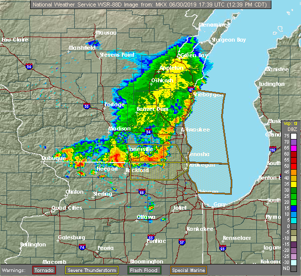 Radar Image for Severe Thunderstorms near Lake Geneva, WI at 6/30/2019 12:43 PM CDT