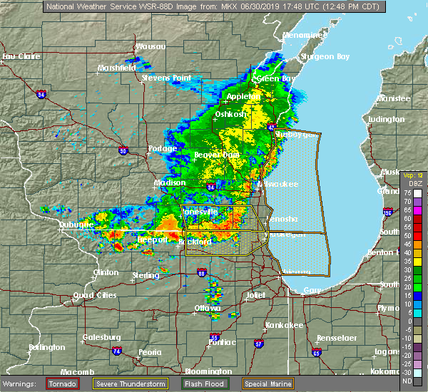 Radar Image for Severe Thunderstorms near Lake Geneva, WI at 6/30/2019 12:54 PM CDT