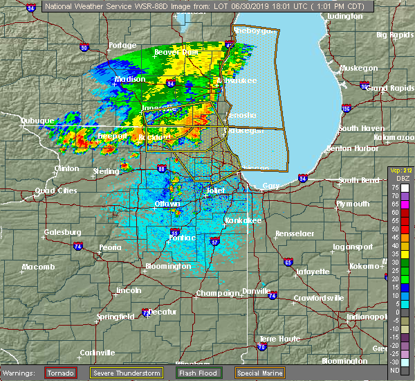 Radar Image for Severe Thunderstorms near Lisle, IL at 6/30/2019 1:05 PM CDT