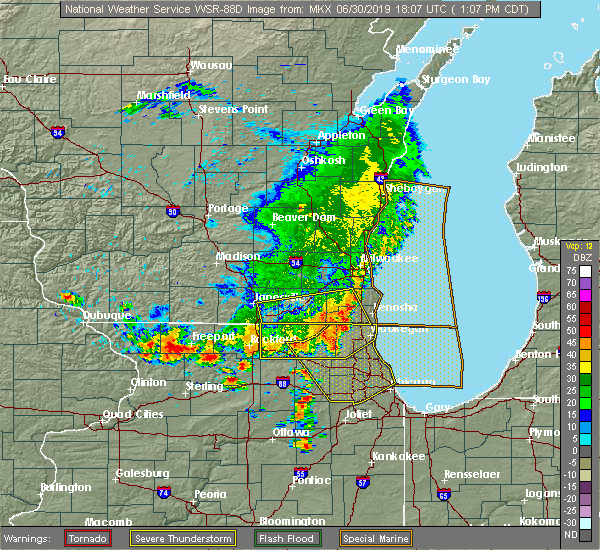 Radar Image for Severe Thunderstorms near Lake Geneva, WI at 6/30/2019 1:14 PM CDT