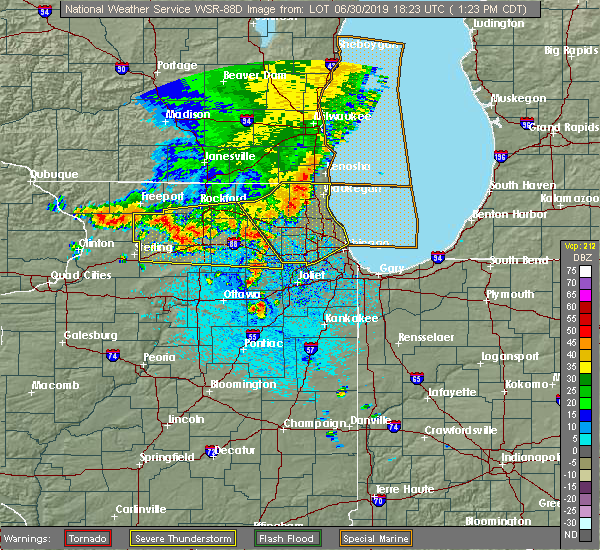 Radar Image for Severe Thunderstorms near Naperville, IL at 6/30/2019 1:26 PM CDT