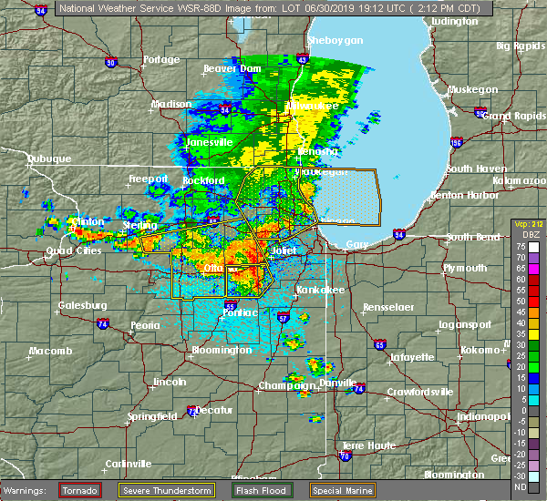 Radar Image for Severe Thunderstorms near Chicago Heights, IL at 6/30/2019 2:16 PM CDT