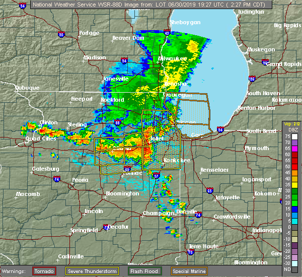 Radar Image for Severe Thunderstorms near Shorewood, IL at 6/30/2019 2:33 PM CDT