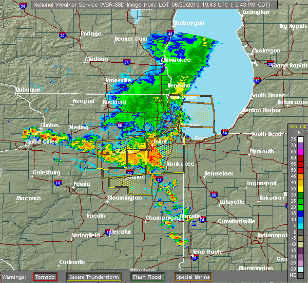 Radar Image for Severe Thunderstorms near Shorewood, IL at 6/30/2019 2:45 PM CDT