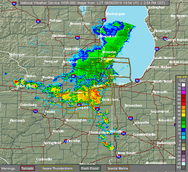 Radar Image for Severe Thunderstorms near Oak Forest, IL at 6/30/2019 2:56 PM CDT