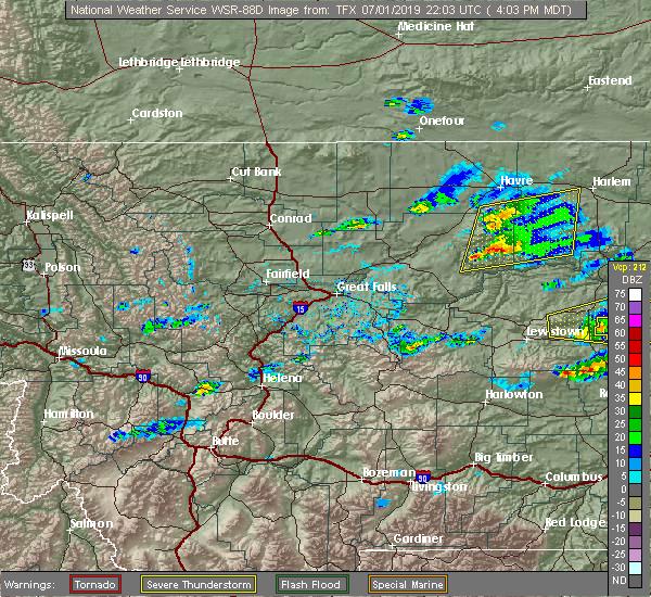 Radar Image for Severe Thunderstorms near Parker School, MT at 7/1/2019 4:05 PM MDT