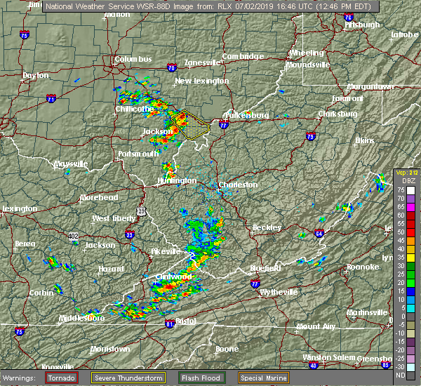 Radar Image for Severe Thunderstorms near Albany, OH at 7/2/2019 12:48 PM EDT