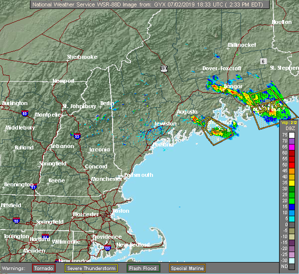 Radar Image for Severe Thunderstorms near Rockland, ME at 7/2/2019 2:39 PM EDT
