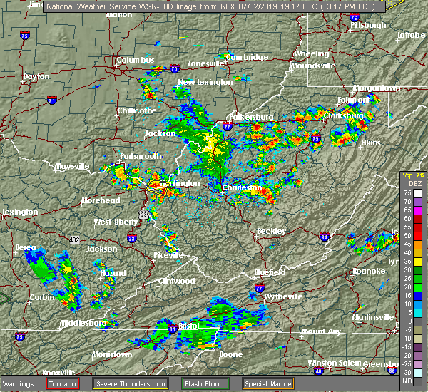 Radar Image for Severe Thunderstorms near Huntington, WV at 7/2/2019 3:19 PM EDT