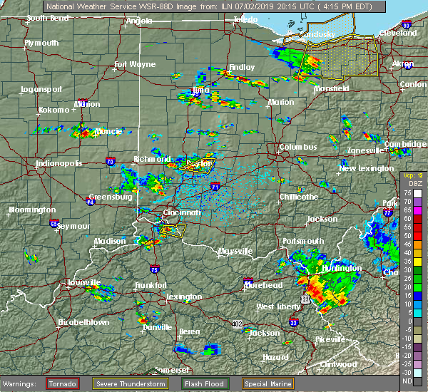 Radar Image for Severe Thunderstorms near Dayton, OH at 7/2/2019 4:18 PM EDT