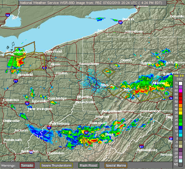Radar Image for Severe Thunderstorms near Laurel Mountain, PA at 7/2/2019 4:29 PM EDT
