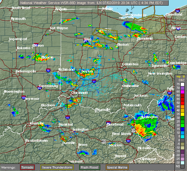 Radar Image for Severe Thunderstorms near Kenton, OH at 7/2/2019 4:39 PM EDT