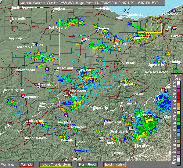 Radar Image for Severe Thunderstorms near Spring Valley, OH at 7/2/2019 5:13 PM EDT