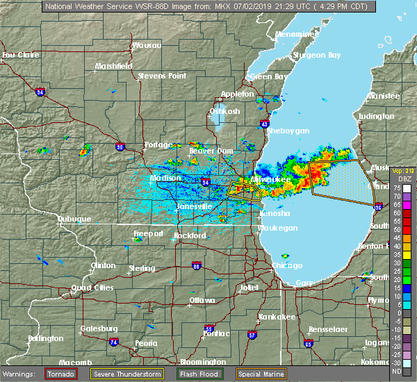 Radar Image for Severe Thunderstorms near West Allis, WI at 7/2/2019 4:34 PM CDT