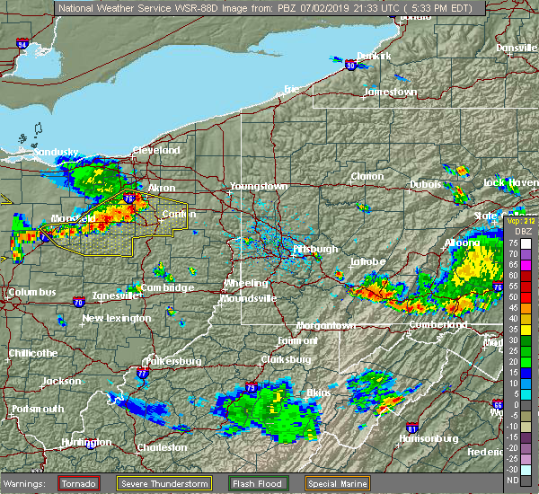 Radar Image for Severe Thunderstorms near Youngstown, PA at 7/2/2019 5:38 PM EDT