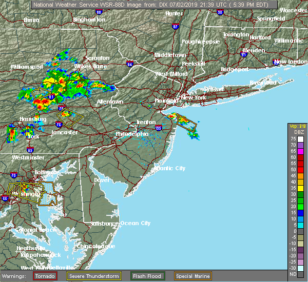 Radar Image for Severe Thunderstorms near Leesport, PA at 7/2/2019 5:43 PM EDT