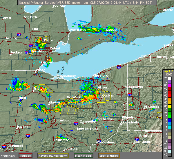 Radar Image for Severe Thunderstorms near Meyers Lake, OH at 7/2/2019 5:50 PM EDT