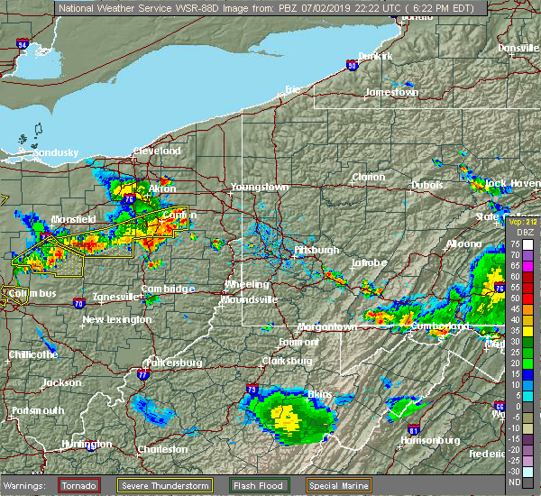 Radar Image for Severe Thunderstorms near Tuscarawas, OH at 7/2/2019 6:23 PM EDT
