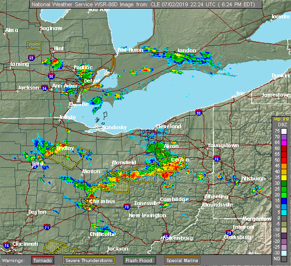 Radar Image for Severe Thunderstorms near Howard, OH at 7/2/2019 6:26 PM EDT