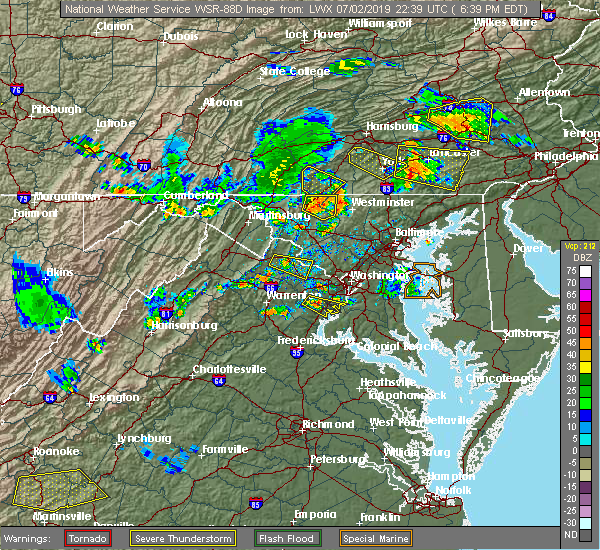 Radar Image for Severe Thunderstorms near Westminster, MD at 7/2/2019 6:43 PM EDT