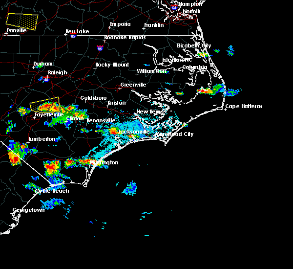 Radar Image for Severe Thunderstorms near Jacksonville, NC at 6/19/2015 6:28 PM EDT