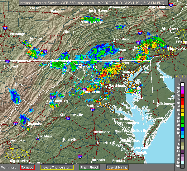 Radar Image for Severe Thunderstorms near Cockeysville, MD at 7/2/2019 7:30 PM EDT