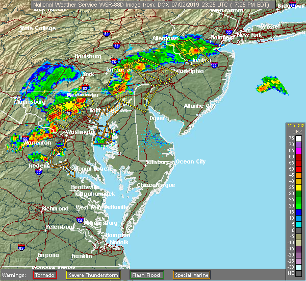 Radar Image for Severe Thunderstorms near Bear, DE at 7/2/2019 7:30 PM EDT