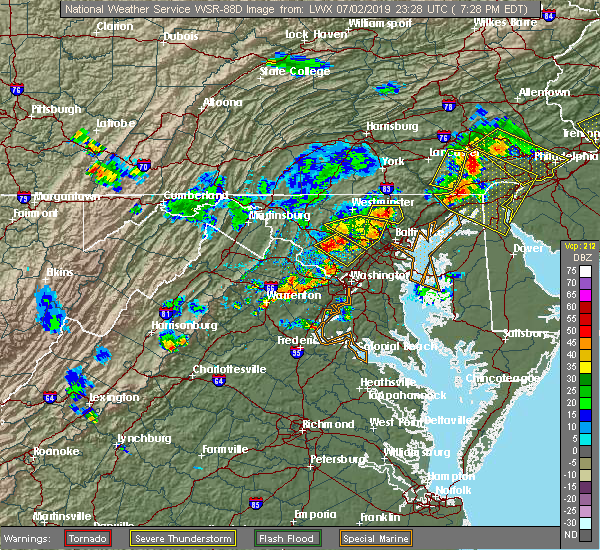 Radar Image for Severe Thunderstorms near Olney, MD at 7/2/2019 7:33 PM EDT