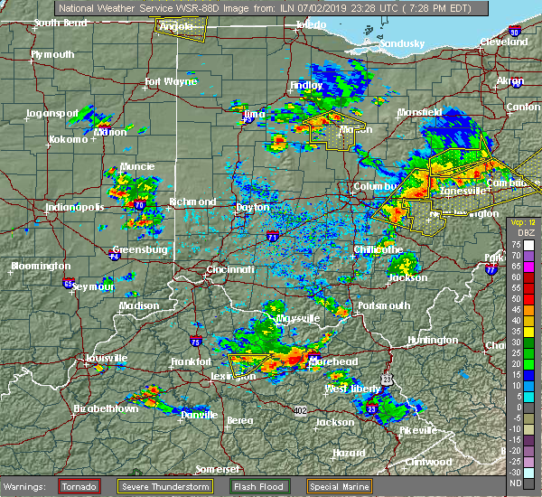 Radar Image for Severe Thunderstorms near Harpster, OH at 7/2/2019 7:34 PM EDT