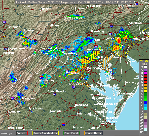 Radar Image for Severe Thunderstorms near Cockeysville, MD at 7/2/2019 7:44 PM EDT