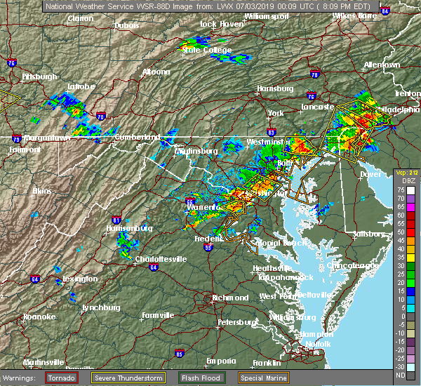 Radar Image for Severe Thunderstorms near Lanham, MD at 7/2/2019 8:13 PM EDT