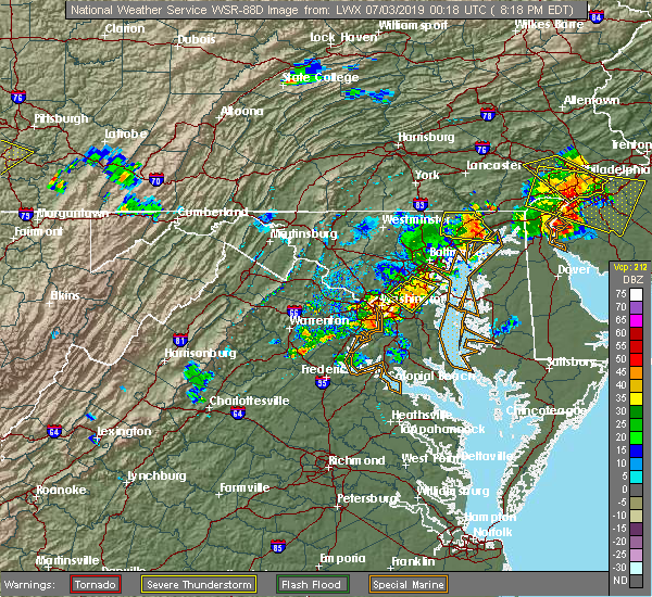 Radar Image for Severe Thunderstorms near Oxon Hill, MD at 7/2/2019 8:23 PM EDT