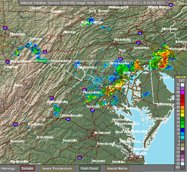 Radar Image for Severe Thunderstorms near Lanham, MD at 7/2/2019 8:25 PM EDT
