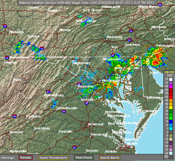 Radar Image for Severe Thunderstorms near Oxon Hill, MD at 7/2/2019 8:40 PM EDT