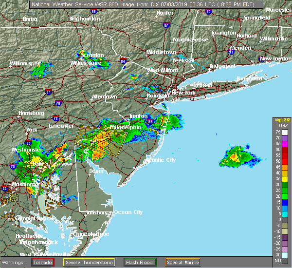 Radar Image for Severe Thunderstorms near Clayton, NJ at 7/2/2019 8:41 PM EDT