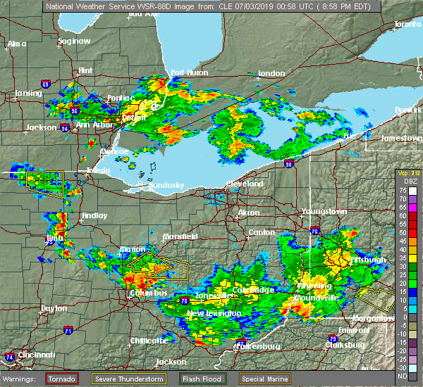 Radar Image for Severe Thunderstorms near Fredericktown, OH at 7/2/2019 9:05 PM EDT