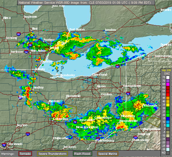 Radar Image for Severe Thunderstorms near New Riegel, OH at 7/2/2019 9:13 PM EDT