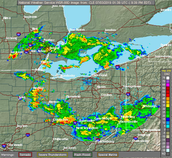Radar Image for Severe Thunderstorms near New Riegel, OH at 7/2/2019 9:44 PM EDT