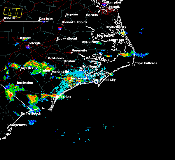 Radar Image for Severe Thunderstorms near Jacksonville, NC at 6/19/2015 6:52 PM EDT