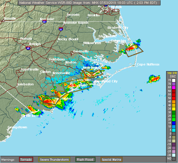 Radar Image for Severe Thunderstorms near Jacksonville, NC at 7/3/2019 2:05 PM EDT