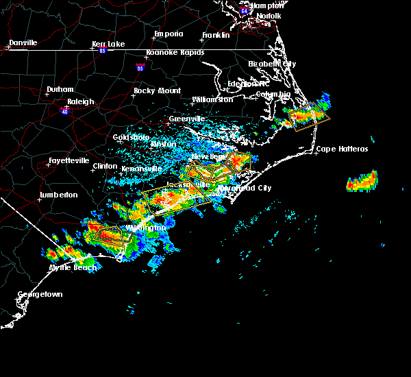 Radar Image for Severe Thunderstorms near Jacksonville, NC at 7/3/2019 2:28 PM EDT