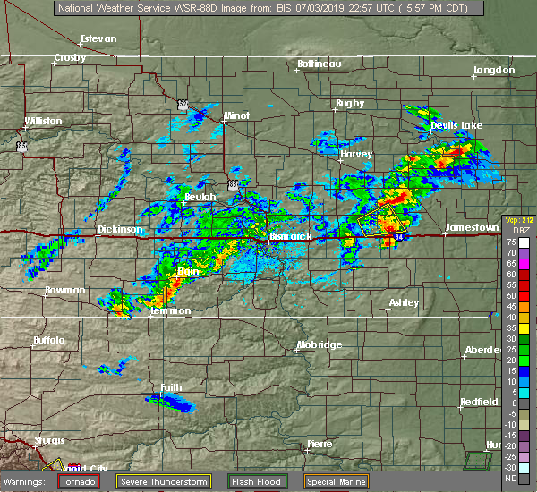 Radar Image for Severe Thunderstorms near Woodworth, ND at 7/3/2019 6:00 PM CDT