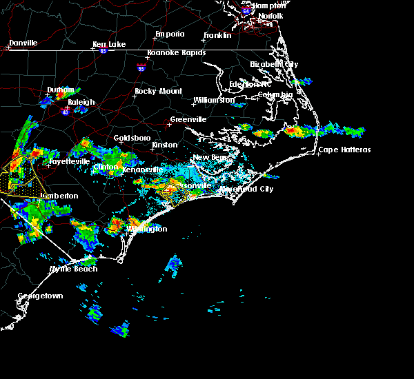 Radar Image for Severe Thunderstorms near Jacksonville, NC at 6/19/2015 7:19 PM EDT