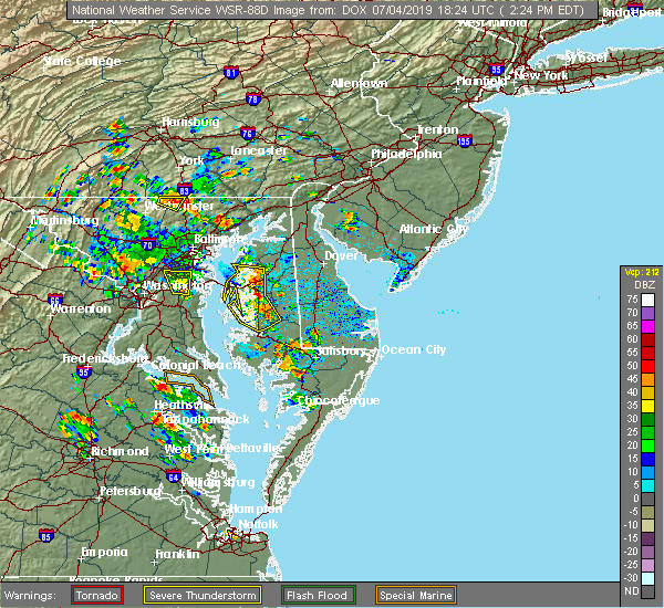 Radar Image for Severe Thunderstorms near Stevensville, MD at 7/4/2019 2:26 PM EDT