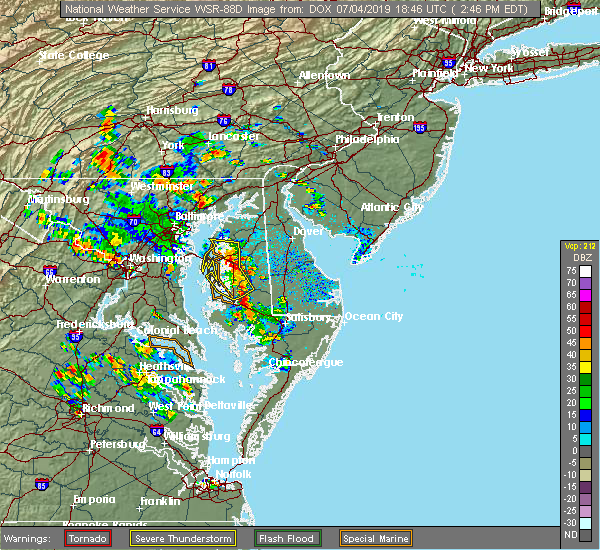 Radar Image for Severe Thunderstorms near Rock Hall, MD at 7/4/2019 2:52 PM EDT