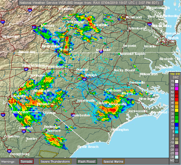 Radar Image for Severe Thunderstorms near Deercroft, NC at 7/4/2019 3:12 PM EDT